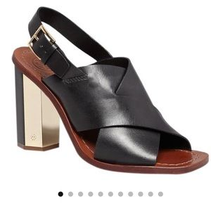 Tory Burch black bleecker slingback leather sandal